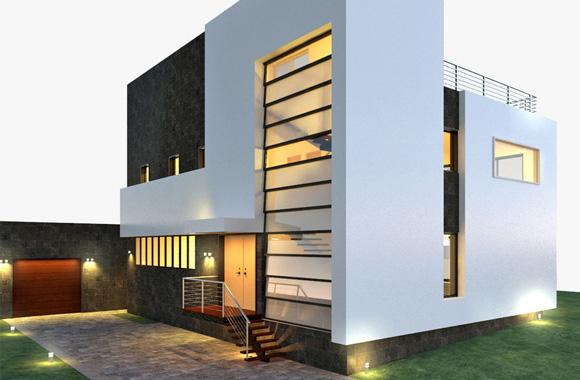 Construction de maison moderne au Bénin avec jardin