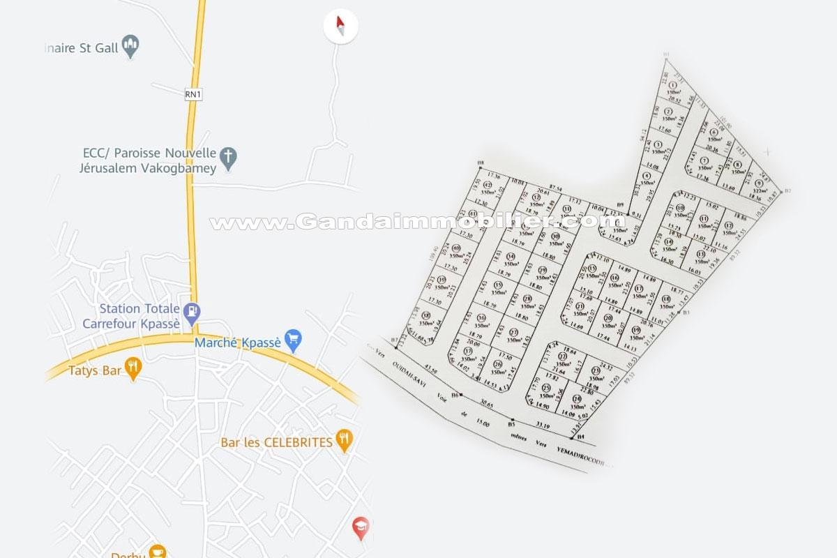 Parcelle de 350 m² avec titre foncier à yemadrocodji – Ouidah