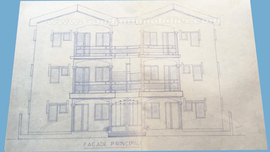 plan maison locative R+2 à vendre à calavi