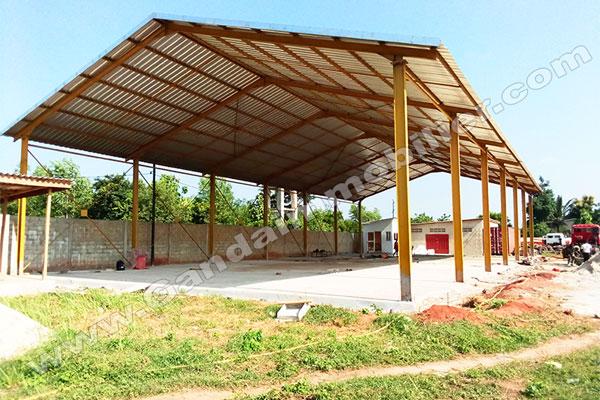 travaux de réalisation de garage pour une entreprise de transport logistique au Bénin